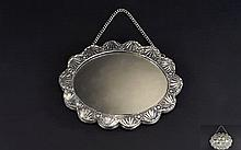 Tavra Turkish 900 Coin Silver Repousse Handmade Oval Shaped Wedding Mirror.