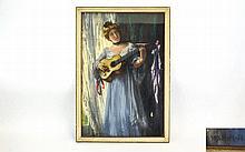 Henry Meynell Rheam (1859-1920) Newlyn School  chalk pastel,  Romantic, Por