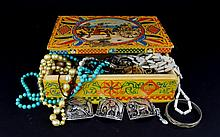 A Collection Of Mixed Costume Jewellery In Vintage Painted Wooden Box A varied collection to include long silver tone and black bead necklace, seed bead multi strand necklace, Cornish Pixie pendant, bangle and kingfisher paperweight. Also a