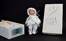 Armande Marseille Bisque Head Dream Baby Doll with Cloth Body, Composition Hands, Blue Glass Eyes - Opens and Shuts, Open Mouth and Teeth. c.1928. 9.5 Inches High, Excellent Condition.