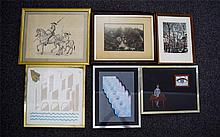A Collection Of Framed Original Artworks And Prints Six items in total to include pencil and ink drawing of Don Quixote, acrylic painting inspired by Magritte, abstract entitled 'Building Crisis 1962 - 1983'. Also, blue and grey abstract print,