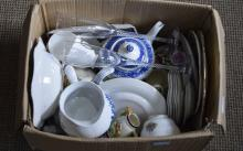 Box of Assorted Ceramics including teapot, plates, jugs etc