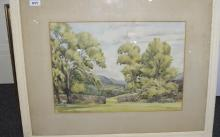 Countryside Watercolour Dated 1949