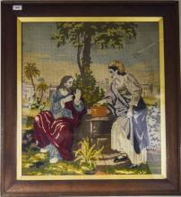 Large Oak Framed Religious Tapestry Depicting Jesus At The Well With The Sa