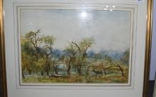 Countryside Watercolour With deer's, dated 1951, size 48cmx34cms