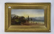William Gilbert Foster Oil on Canvas, harbour scene with figures. Signed an