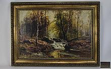 Ernest Walbourne 1872 - 1927 ' Woodland Scene with Steam ' Oil on Canvas. S