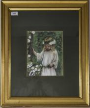 Framed Pastel, Flower Girl In Garden Setting By Doreen Phelan, , 10x8 Inche