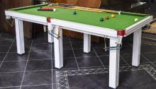 7ft x 3.5ft Slate Bed  Snooker Table raised on 6 carved legs, balls, cue, r