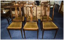 Set Of Six Early 20thC Dinning Chairs Padded Seats