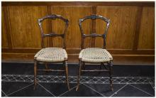 Pair of Victorian Bedroom Chairs carved back rail, turned legs, Hessian sea