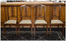 Set of Four Edwardian Chairs, carved splat, square tapering front legs. Wit
