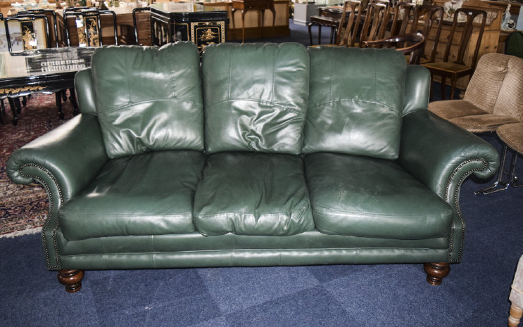 green leather 3 seater sofa with 3 removable soft leather cu