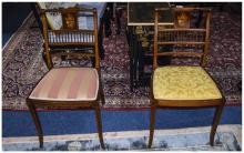 2 Bedroom Chairs  With inlaid decoration with backrest  1 with a yellow pad