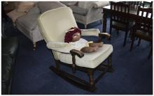 Rocking Chair Wooden Frame With Light Green Upholstery  Together with a rag