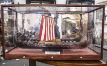 Scratch Built Model Of The Oseberg Viking Ship, Housed In A Custom Built Pe