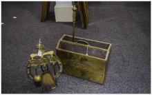 Small Collection of Brass comprising fire side set and magazine rack