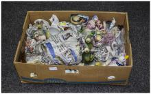 Box Of Misc Pottery, Comprising Ornaments, Figures, Vases, Animals etc