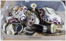 Box of Miscellaneous Pottery comprising blue and white, 19th and 20th Centu