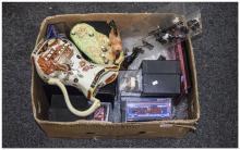 Box of Ceramics including Masons, Beswick, boxed cars etc