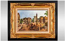 William Chamberlain English Artist, 19th Century Village Scene, Near Canter