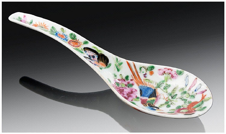 Cantonese Porcelain Spoon painted in famille rose