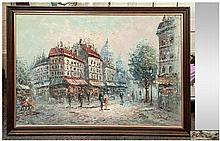 Framed Oil On Canvas, depicting a French street