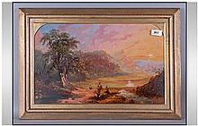 Victorian Oil Painting On Panel depicting an