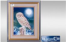 A Framed Watercolour of an Owl on a Branch.(Winter