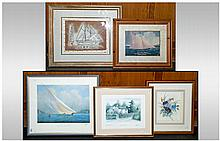 Collection of 5 Modern Framed Prints, 3 with