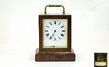 French - Oak Cased 8 Day Carriage Timepiece / Cloc
