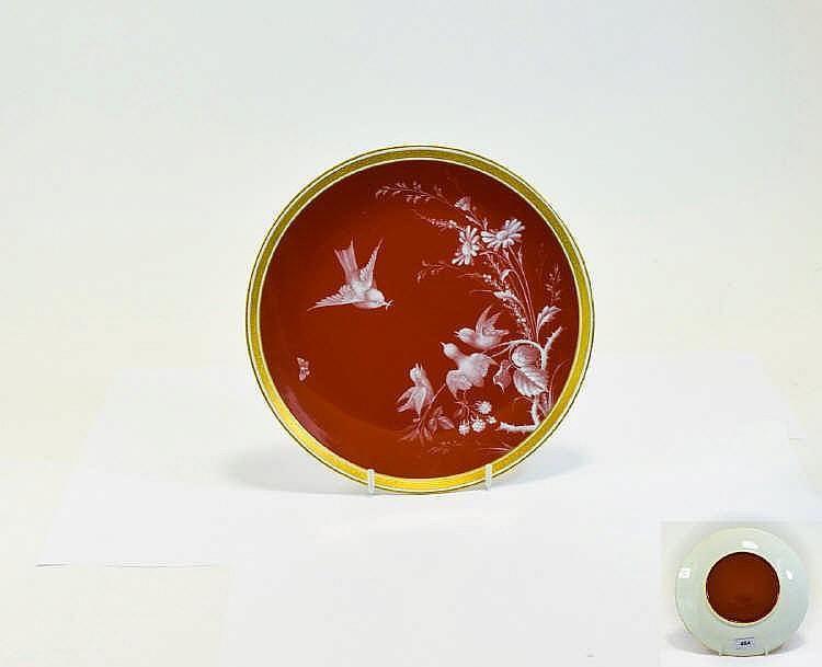 Lot 454: Minton Pate-sur-Pate Cabinet Plate, showing a bird