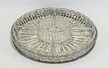 Silver Plated Hors D'Oeuvre Tray with 6 Lead Cryst