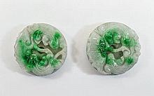 2 Jadeite Stone Talismans Carved In High Relief De