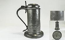 A Rare Charles II Pewter Beefeater Flagon with Ins