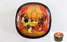 ' Tea Party ' Russian Lacquer Table Box, Beautiful