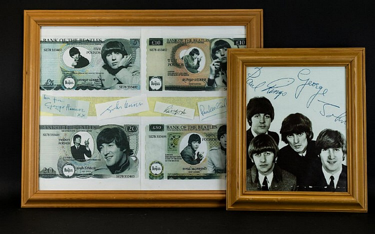 Beatles Interest Two Framed Prints. The First A Black And Wh