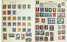 Red spring back stamp album. Well filled, especial