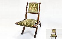 Victorian Child's Well Made Oak Upholstered Seat a