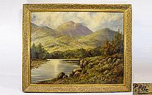 R. G. Rie 19th Century Artist Large Oil on Canvas