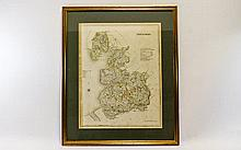 Early 19th Century Period Map of Lancashire, Publi