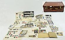 Old brown suitcase full of stamp oddments. Noticed