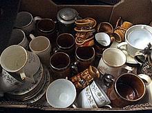 Box of Assorted Ceramics including Avonware bowl,