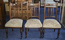 Set Of Three Victorian Dining Chairs Cushion seats