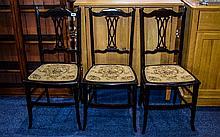 Dark Wood Bedside Chairs. Three in total, approx d