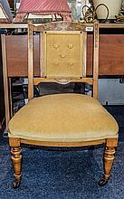 Bedroom Chair Blonde wood on castors with ribbon a