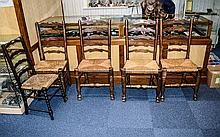 4 Yorkshire Rush Seat Ladder Back Chairs together