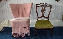 Victorian Walnut Bedroom Chair, shield shape back,
