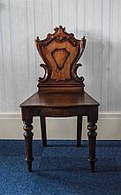 19thC Mahogany Hall Chair carved shield shaped bac