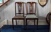 Pair of Edwardian Dining Chairs,string inlay, squa